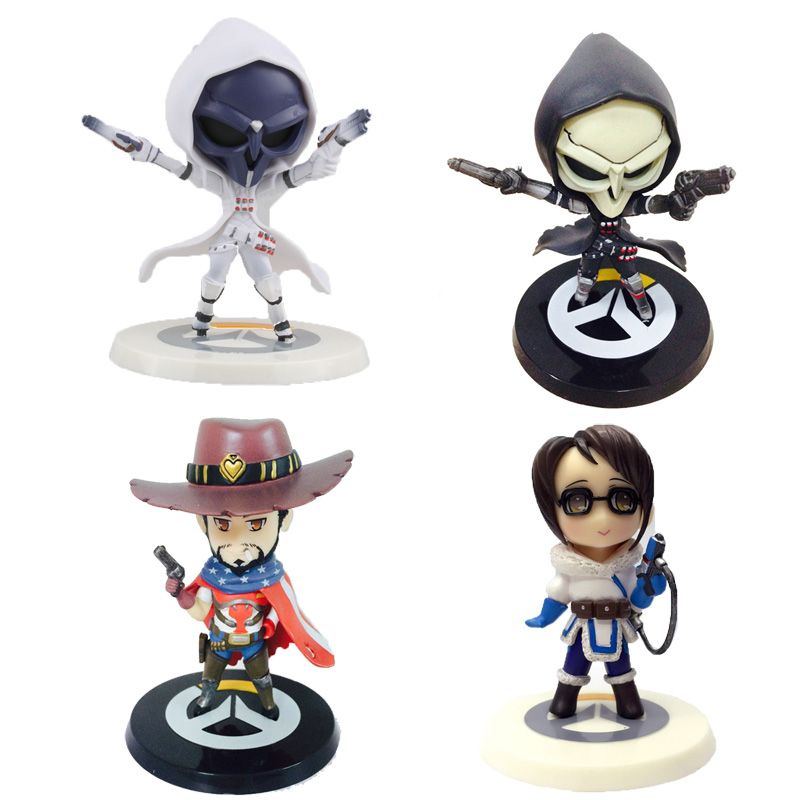 11CM Cute Reaper/Mccree/Mei Action Figures Hot Game Anime Figure PVC Doll Model Kids Toys For Children Boys New Year Gift cute pet rare color sausage short hair dog action figure girl s collection classic anime christmas gift lps doll kids toys