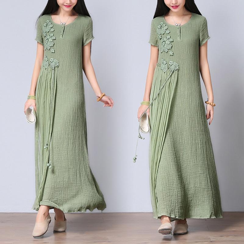 Crochet Fleur Patch Vintage Coton Lin Femmes D'été Maxi Robe de Soie Patchwork Casual Robe Longue Robes de festa CD135