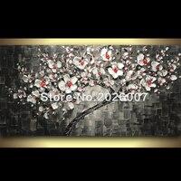 Hand Made Original Black White Cherry Blossom Tree Painting Contemporary Landscape Art Texture Palette Knife