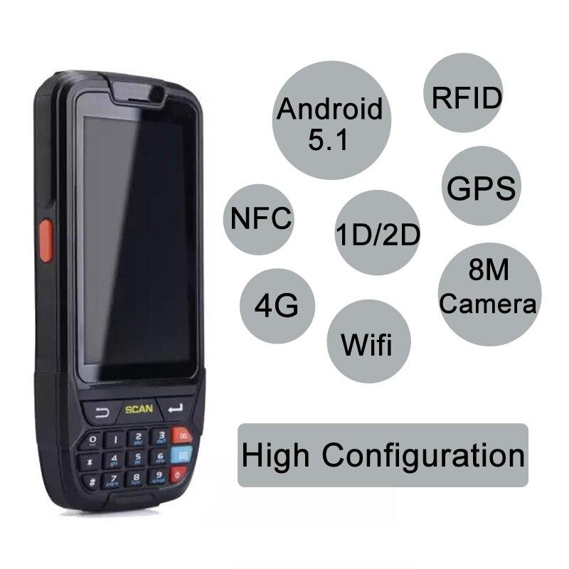Android 7.0 De Poche pos terminal avec NFC UHF RFID lecteur mémoire 4 pouce grand écran Terminal de Données 1D, 2D Laser Barcode Scanner