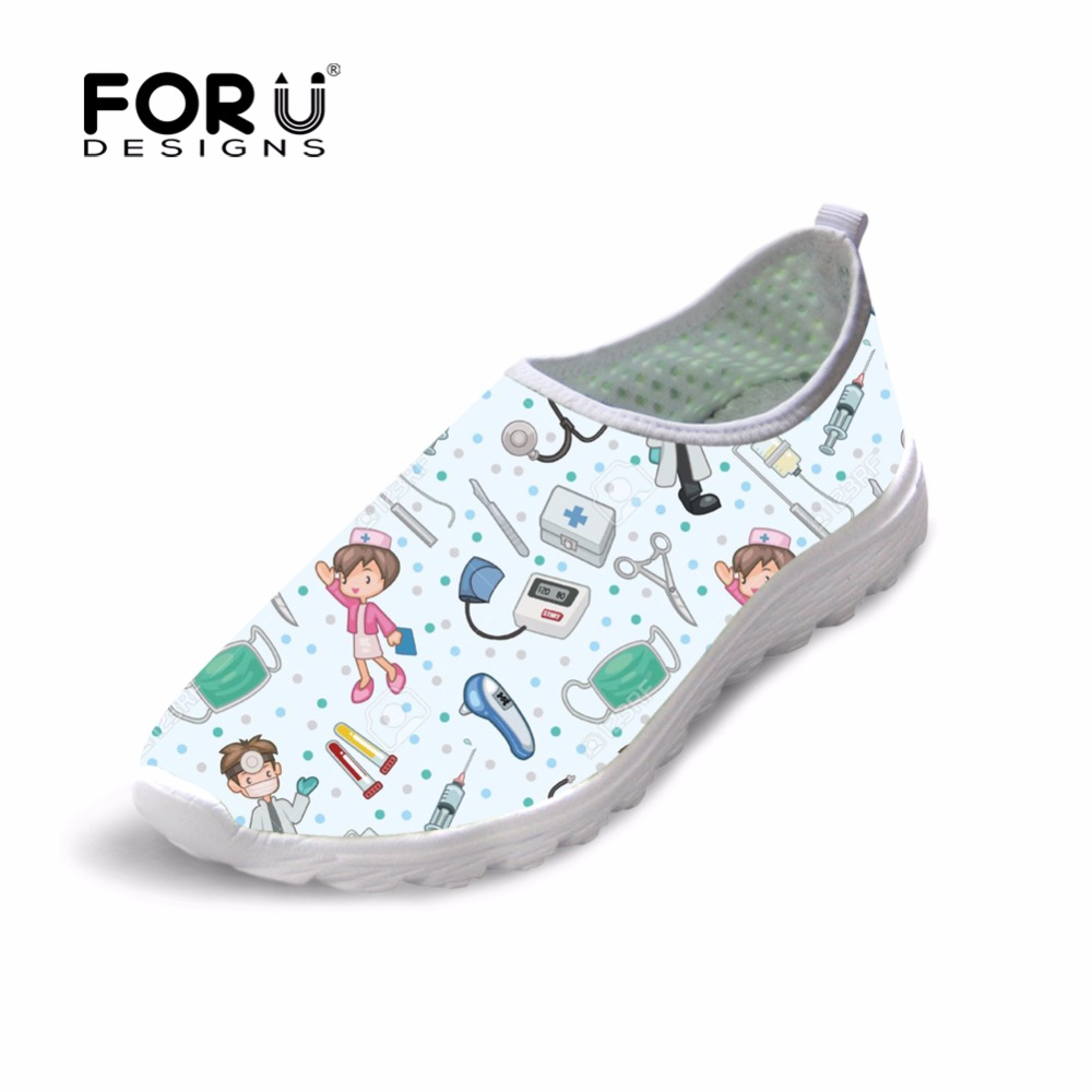 FORUDESIGNS HOT Cute Nurse Pattern Cartoon Summer Women Flats Shoes Breathable Air Mesh Women's Sneakers Light Weight Zapatos instantarts pink sneakers women casual flats cute cartoon pediatrics bear doctor nurse pattern lady air mesh laces up flat shoes