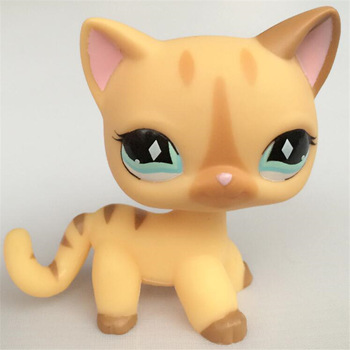 Real Rare Pet Shop Lps Toys Littlest Short Hair Cat #994 Black Animal Kitten With Blue Eyes Christmas Gift For Kids цена 2017