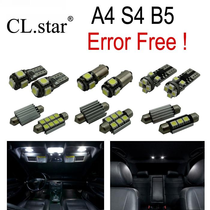 17pc X Canbus LED Bulb Interior Light Kit Package for Audi A4 S4 B5 Sedan Quattro (1996-2001) free shipping 60 17x a4 s4 b5 1998 2001 white led lights interior package kit canbus