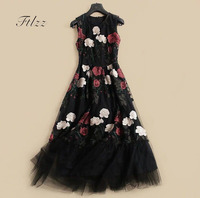 New 2018 Women Vintage Dresses Summer Sleeveless O Neck Rose Floral Embroidery Long Robe Ladies Black Party Dress Veetidos Mujer
