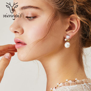 Image 4 - Viennois Fashion Pearl Jewery Set Rose Gold Flower Design Simulated Pearl Necklace and Earring Jewelry Set For Women Bridal Set