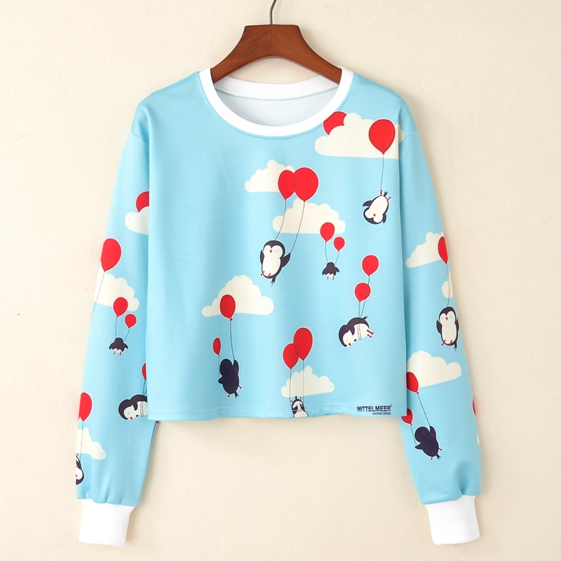 KaiTingu Women Casual Pullover Harajuku Fashion Crop Tops Long Sleeve Ladies Penguin Balloon Short Cropped Sweatshirt