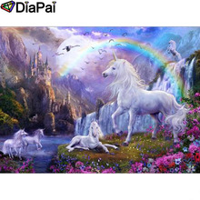 DIAPAI Diamond Painting 5D DIY 100% Full Square/Round Drill Horse rainbow Embroidery Cross Stitch 3D Decor A24836