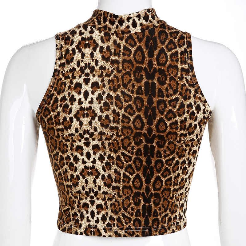 9c183dfeaae3d ... DCCGHTY Brown Top Sexy Bright Sleeveless Turtleneck Leopard Print  Tshirt Women Crop Top Soft Ladies Short ...
