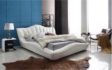 цены Europe and America Genuine leather bed frame Modern Soft Beds Home Bedroom Furniture cama muebles de dormitorio / camas quarto