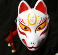 Hand-Painted Full Face Japanese Fox PVC Kitsune Red Yellow Pattern Cosplay Decorative Mask Collection Party Halloween