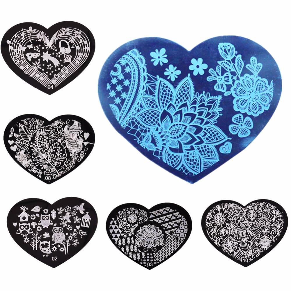 online buy wholesale designer plates from china designer plates  - pcsset cm love heart d nail art stamping plates  designs