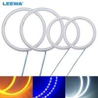 LEEWA 2X80MM 2X110MM 4pcs/Set Car LED Halo Rings Angel Eyes DRL Head Lamp For Hyundai Tiburon(00 01) White #CA1526