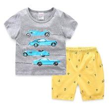 Boys Summer  Pajamas Child Short Sleeve Cartoon Car Clothing Kids Comfortable Home Wear Suit