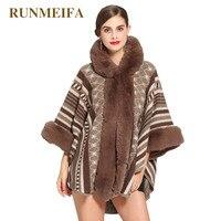 RUNMEIFA New Arrival Faux Fur Scarf For Women Noble Mantle Plus Size Femme Elegant Poncho Winter Warm Wraps Lady Fashion Cloaks