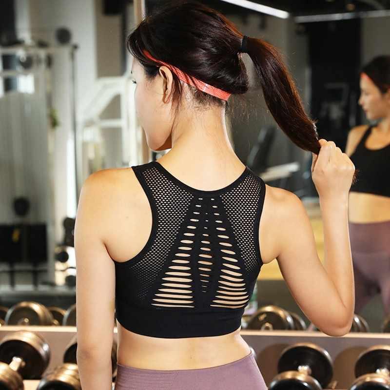 Sexy Oco Fora Sutiã Esportivo de Alto Impacto Malha de Volta Bra Tops Gym Workout Yoga Aptidão Execução Sutiã Mulheres Sutiã Esporte w208