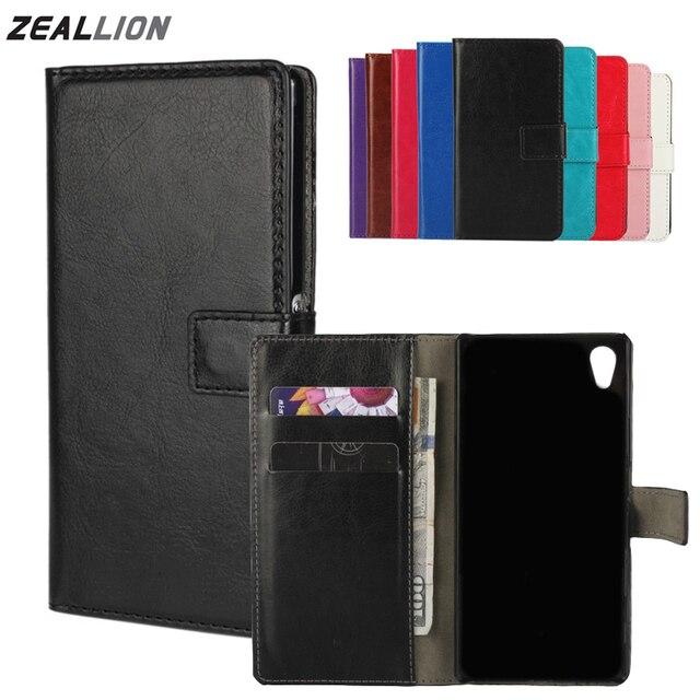ZEALLION Đối Với Sony Xperia Z1 Z2 Z3 Z4 Z5 mini Nhỏ Gọn M2 M4 Trường Hợp Wallet Holster Lật Crazy-Ngựa da Bìa