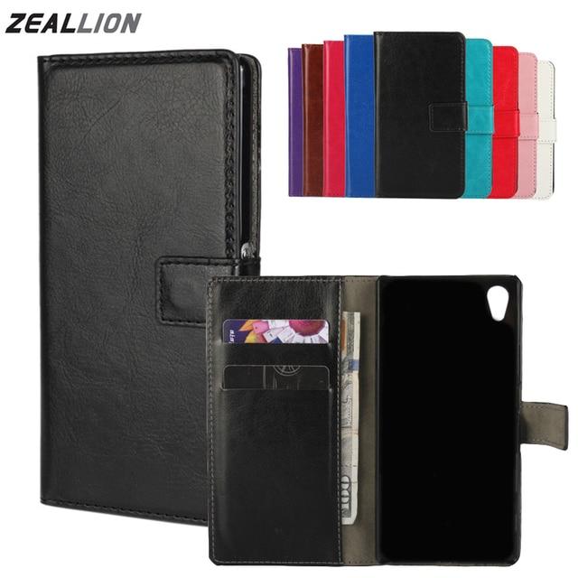 Zeallionソニーのxperia z1 z2 z3 z4 z5ミニコンパクト㎡m4ケース財布ホルスターフリップ狂気の馬革カバー