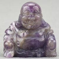 1.5'' Buddha Sculpture Carving Figurine Natural Amethyst Crystal Stone Craft Carved Vairocana Buddha Statue Healing Home Decor