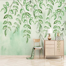 Fresh green leaves watercolor style Nordic minimalist TV background wall
