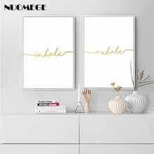 Inhale Exhale Golden Simple Quote Canvas Posters and Prints Nordic Style Wall Art Painting Picture for Living Room Decor