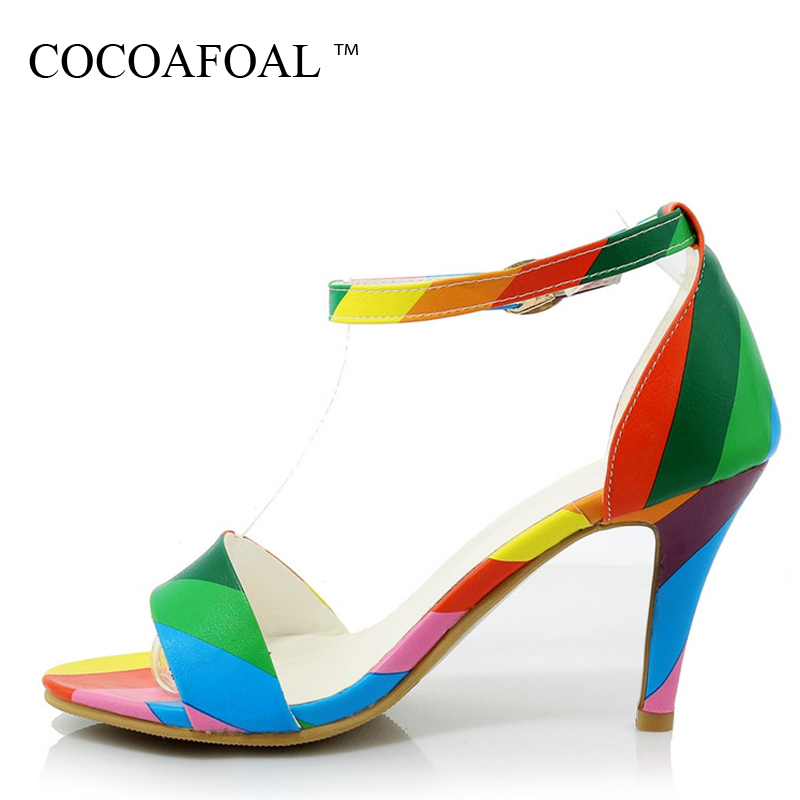 COCOAFOAL Women High Heels Sandals Plus Size 33 32 44 White Wedding Shoes Black Fashion Sexy Buckle Strap Peep Toe Pumps 2018