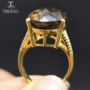 Image 2 - TBJ,Big 11ct smoky gemstone ring  in yellow gold color 925 sterling silver gemstone jewelry for girls with gift box