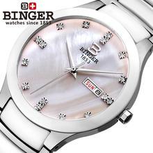 Switzerland Binger Space ceramic men's watch fashion quartz wristwatches rhinestone Lovers clock 100M Water Resistance B-8007-5