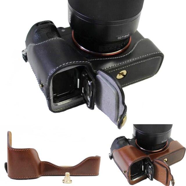 100% Prawdziwa Skóra pół Camera case dno torby skóry pokrywa dla Sony A7 III A7R3 A7R III A7R Mark 3 a7RM3 A7III A9 baterii otwarcia