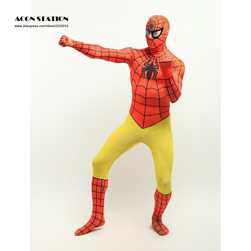 <font><b>Orange</b></font> Yellow <font><b>Lycra</b></font> Spandex <font><b>Zentai</b></font> Suit <font><b>Inspired</b></font> <font><b>by</b></font> <font><b>Spiderman</b></font>, Halloween Costumes, Christmas Costumes
