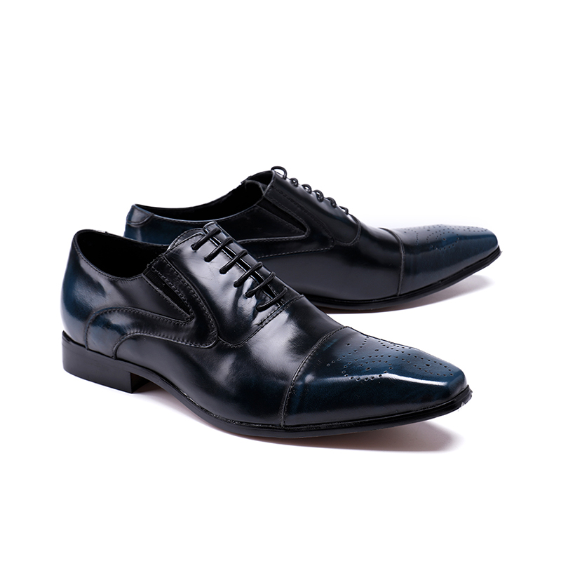 CH.KWOK men dress shoes genuine leather black italian fashion business oxford shoes square toe driving oxfords plus size 46 45