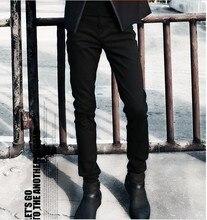 2015 new winter Metrosexual Pants Black Jeans Mens youth slim pencil pants male feet