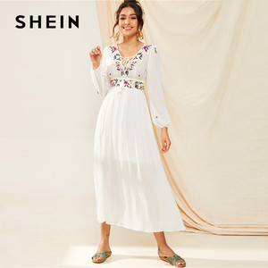 Image 1 - SHEIN Tassel Trim Floral Embroidered White Dress Boho V Neck Bishop Sleeve Maxi Dress Spring High Waist A Line Long Dresses