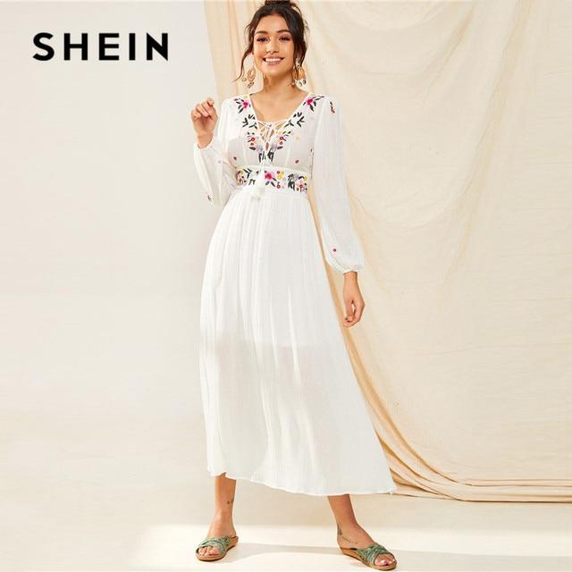 SHEIN Tassel Trim Floral Embroidered White Dress Boho V Neck Bishop Sleeve Maxi Dress Spring High Waist A Line Long Dresses