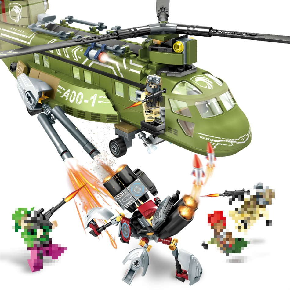 506pcs Building Blocks Compatible Lepins Black Gold Military Series Helicopter Army Enlighten Bricks FIGURES Children Toys enlighten building blocks navy frigate ship assembling building blocks military series blocks girls
