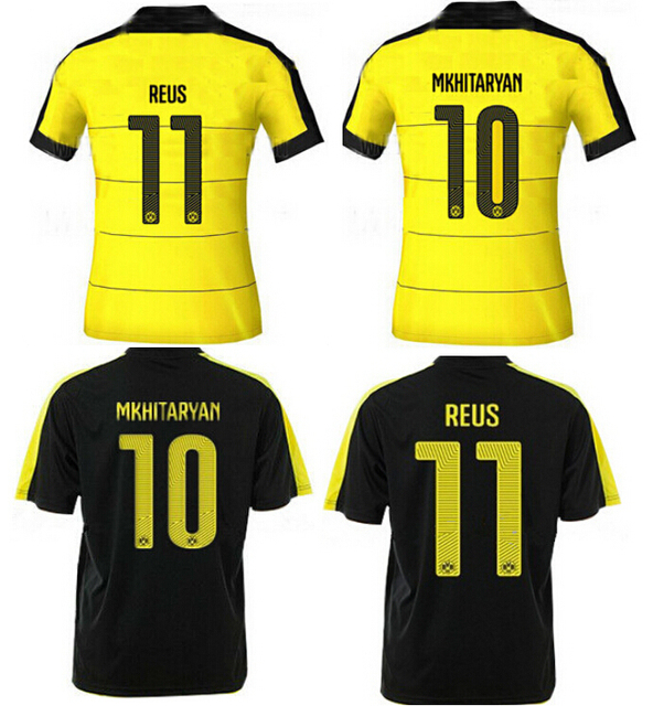 Soccer Jersey Borussia Dortmund 2016 MARCO REUS Borussia Dortmund 15 16  Yellow 15 16 BVB Dortmund Black Home Away Football Shirt 72720c7cc