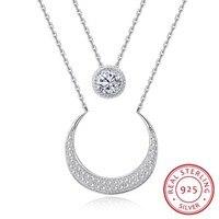 Nova jóias de alta qualidade. 100% prata esterlina, 925 colar de prata esterlina, duplo de prata esterlina da lua colar N192
