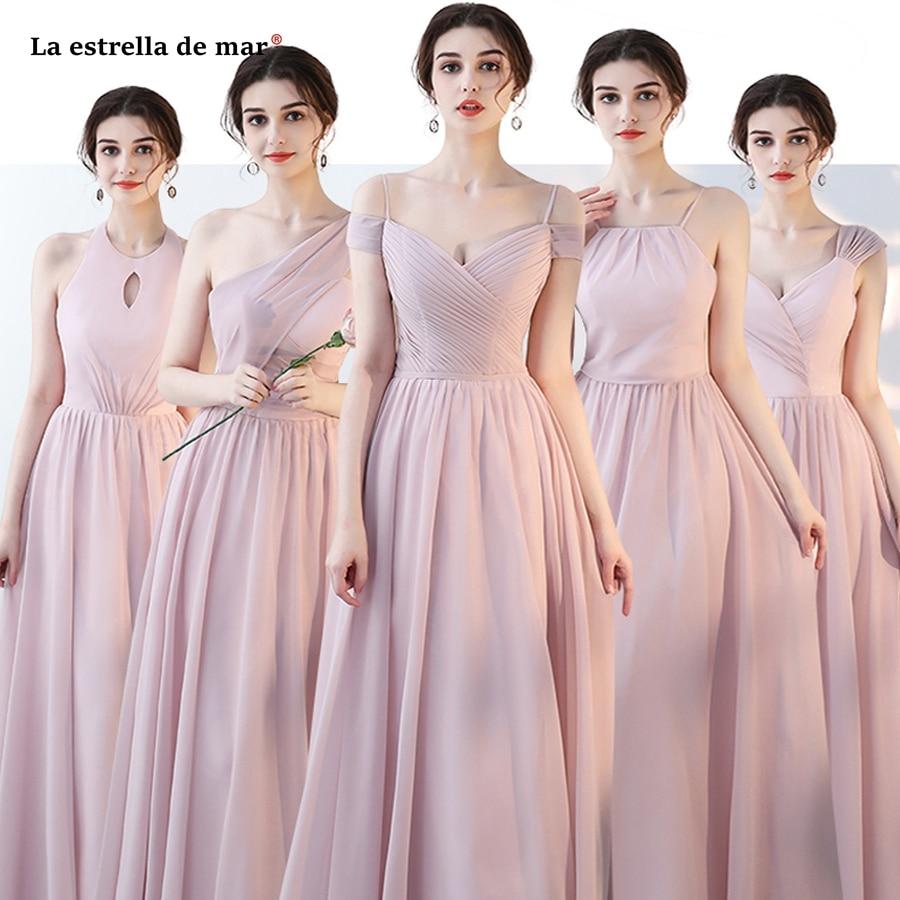 Vestido para madrinha2018 new chiffon a Line 5 style Blush pink gray ...