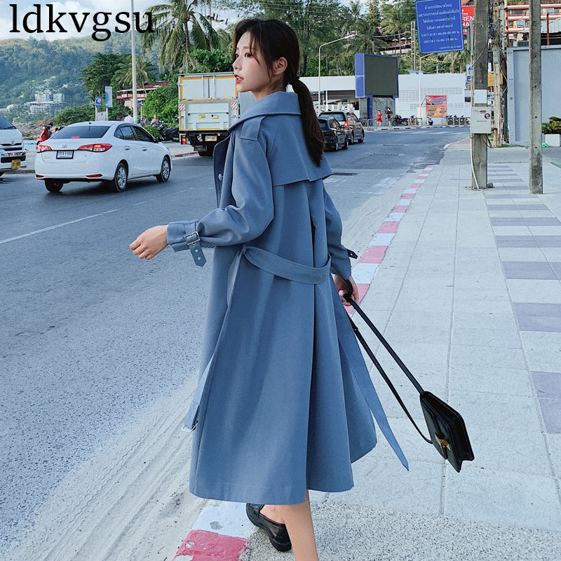 2019 NEW Spring Autumn Women Single-breasted Long Trench Coat Casual Loose Fit Lace Up Coats Black Blue Outwear Female V422
