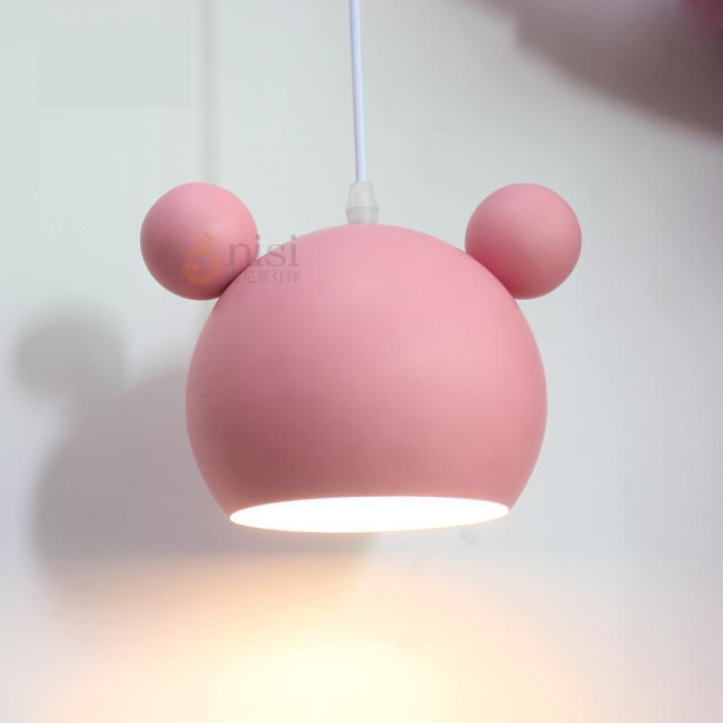 Korean style kindergarten pink pendant lights E27 1-3 pcs Baby room Modern iron hanging lamp Princess Girl kids light fixtures