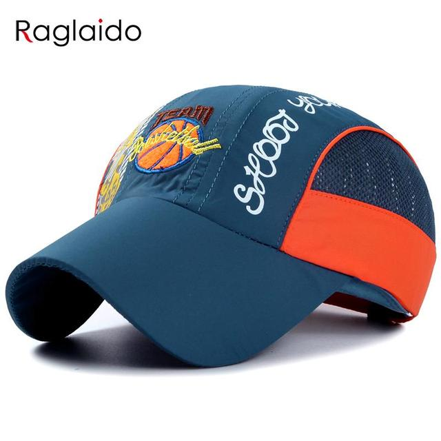Raglaido 2016 Children Quick Dry Caps Baby Embroidered Sports Baseball Caps Visor Hats Basketball Mesh Hat LQJ01126