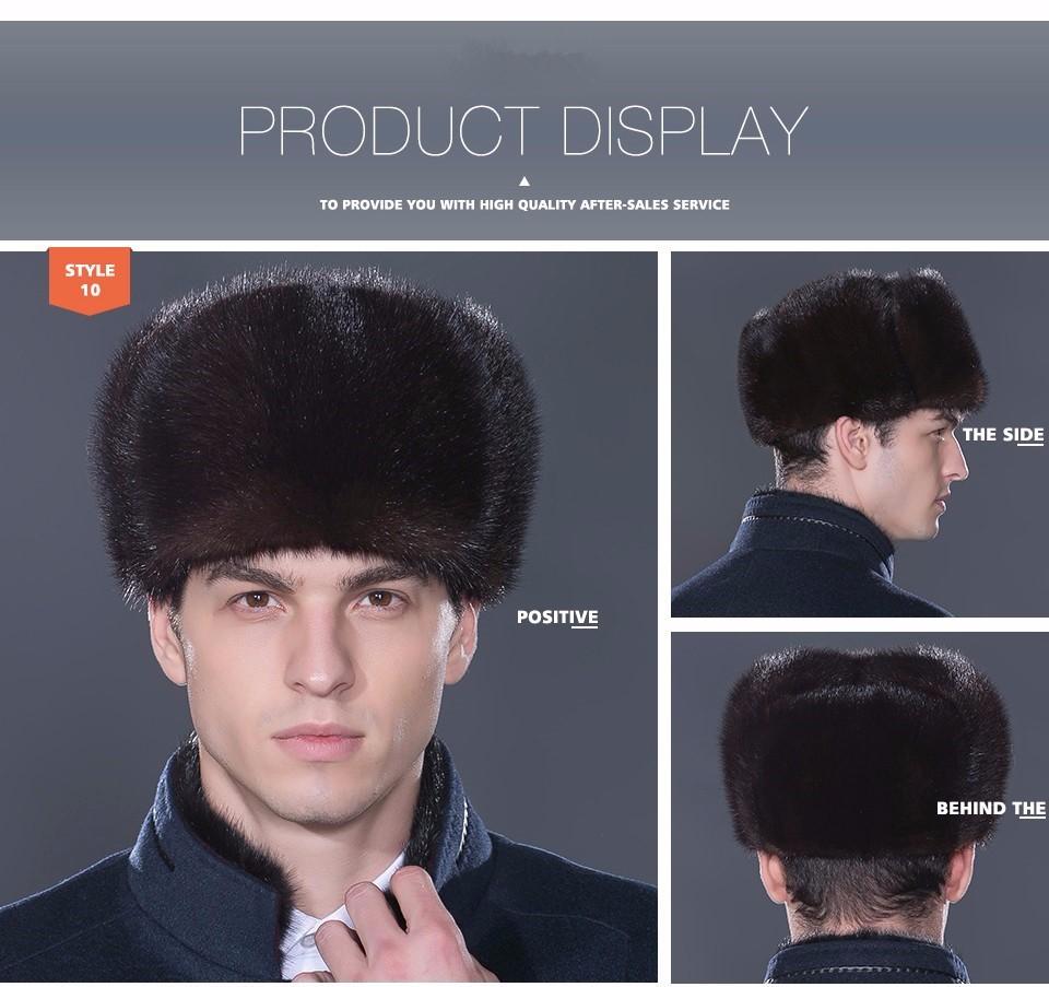 LTGFUR Bomber Men's Hats Warm Mink Fur Hat Bomber Ushanka Aviator Snow Caps With Ear Flaps Russian Cap For Men NZD-01 10