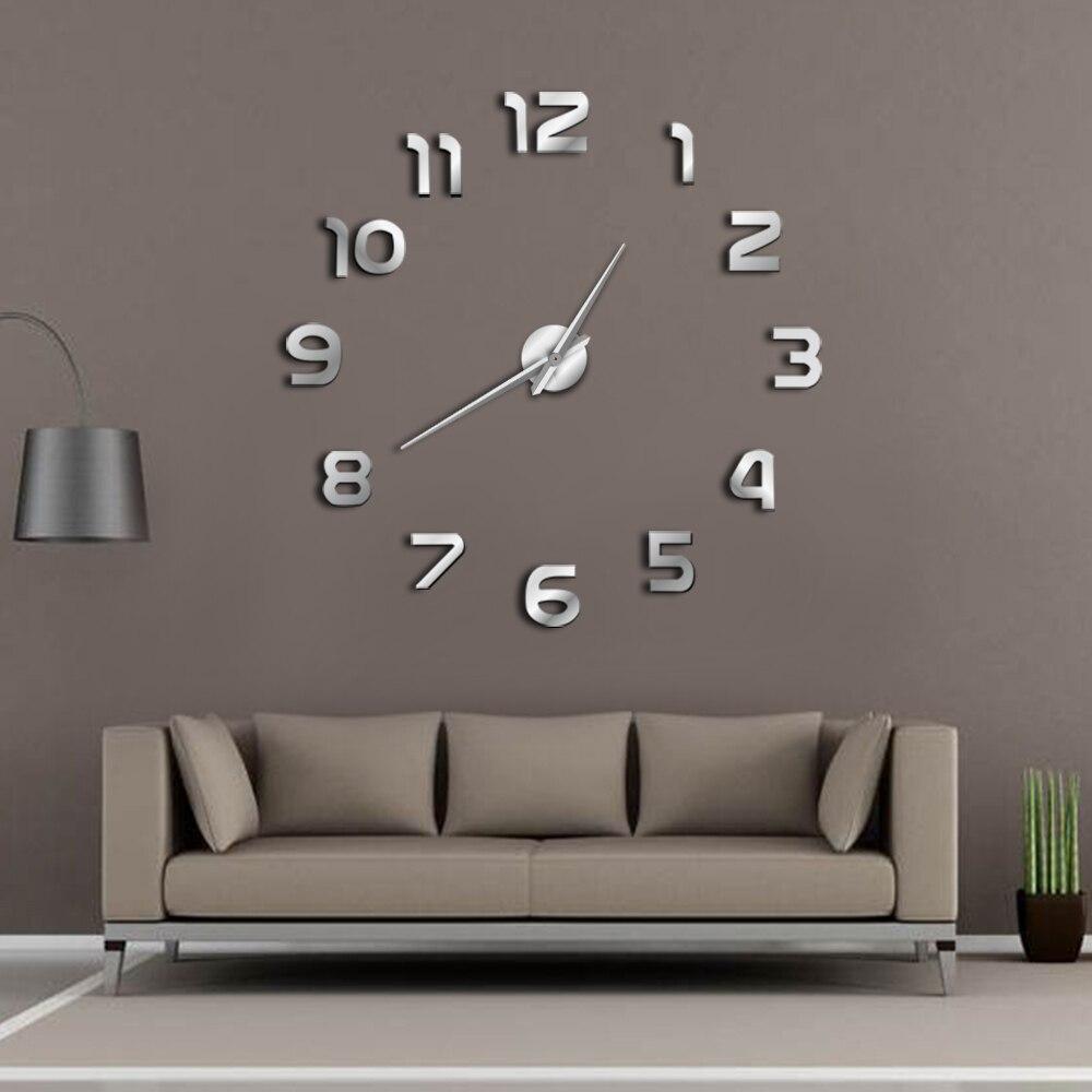 DIY Giant Wall Clock Simple Modern Design DIY 3D Mirror Effect Large Arabia Numerals Sticker Wall Clock Home Decor Wall Watch