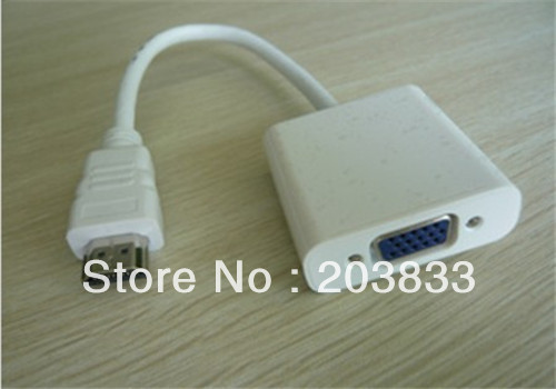 10pcs a lot White hdmi to VGA converter adapter cable PC118 for computer notebook XBOX360 free shipping