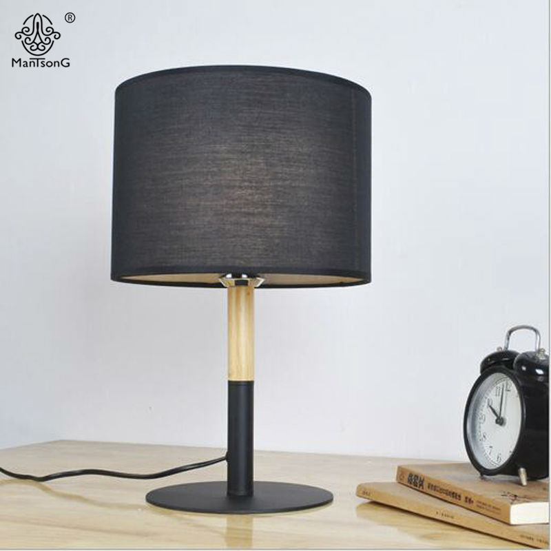 New Table Lamp Modern Key Switch E27 Ac White Black Fabric Lampshade Natural Osk Wooden Body For Bedroom Wood Reading Lighting In Lamps From Lights