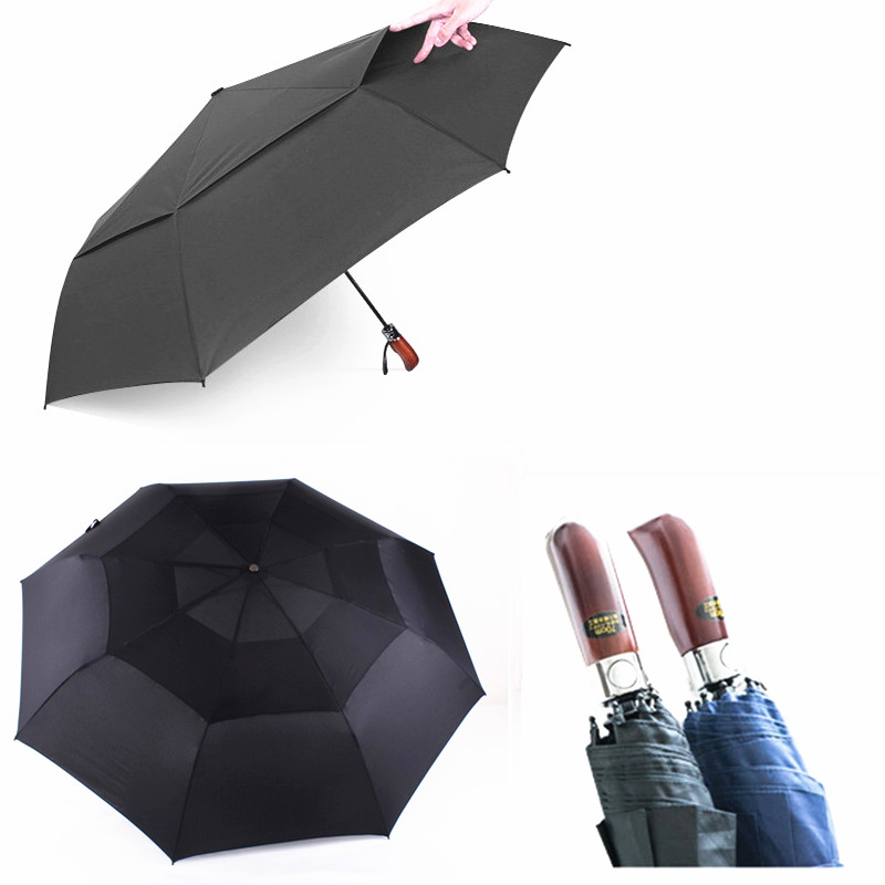 48 8 Inch Brand Double Layer Windproof Umbrella Three Folding Umbrellas Male Commercial Automatic Golf Man