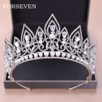 Luxury Zircon Pearl Crown Bridal Tiara Diadem Rhinestone Pageant Crown Wedding Hair Accessories Bride Headpieces Crystal Tiaras
