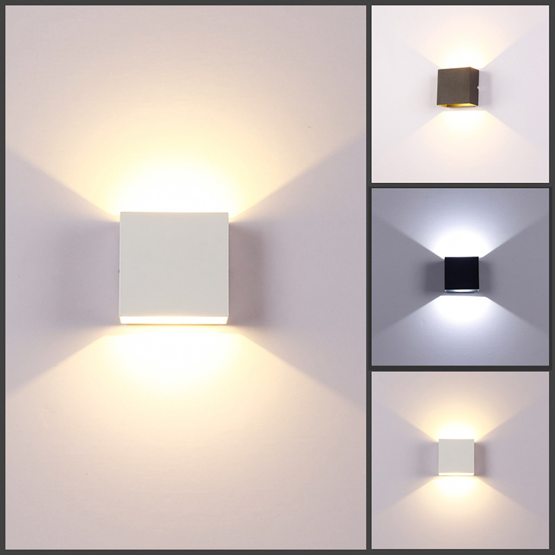 Square LED Wall Lamp 6W lampada LED Aluminium light rail project bedside room bedroom art Indoor cold/warm white Built-in driver