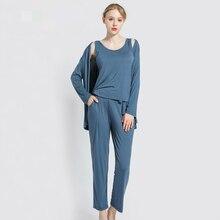 Phù Hợp Với Phụ Nữ 3 Mảnh Modal Vest Tay Dài Cho Giải Trí Nhà Nữ Đồ Ngủ Bộ Xuân, Mùa Hè, Mùa Thu homewear