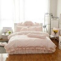 Кружевной каймой кровать юбка Египет хлопок розовый, наборы белый пододеяльник наволочки постельное белье 3/4/6/7 шт. Twin queen King Размеры постель