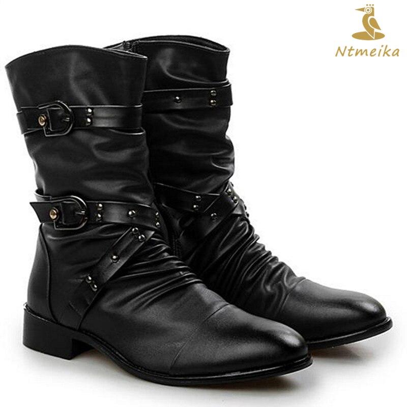 Высокое качество Зимние сапоги из натуральной кожи Для мужчин форма основной мотоботы Для мужчин до середины икры в стиле панк-рок черная о...